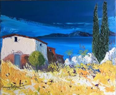 """Peinture intitulée """"Le cabanon"""" par Francis Bocquet, Œuvre d'art originale, Huile"""