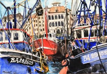 """Peinture intitulée """"Le port de Saint Je…"""" par Francis Bocquet, Œuvre d'art originale, Aquarelle"""
