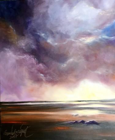 """Peinture intitulée """"Ciel d'orage"""" par Francis Bocquet, Œuvre d'art originale, Huile"""