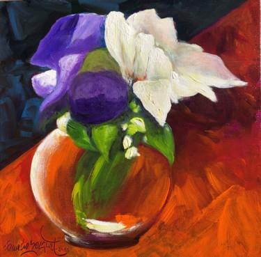 """Peinture intitulée """"Violet et blanc"""" par Francis Bocquet, Œuvre d'art originale, Acrylique"""