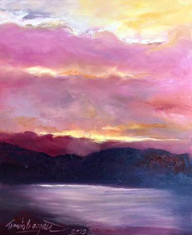 """Peinture intitulée """"coucher de soleil e…"""" par Francis Bocquet, Œuvre d'art originale, Huile"""