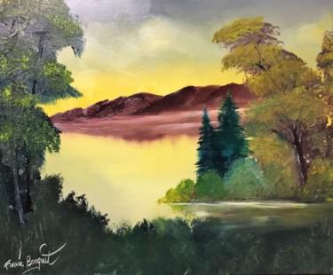 """Peinture intitulée """"Matin sur le lac"""" par Francis Bocquet, Œuvre d'art originale, Huile"""