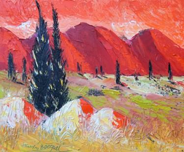 """Peinture intitulée """"Soir sur le Lubéron"""" par Francis Bocquet, Œuvre d'art originale, Huile"""