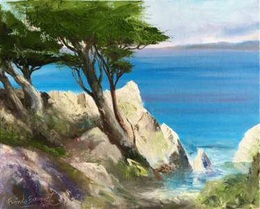 """Peinture intitulée """"Côte d'Azur"""" par Francis Bocquet, Œuvre d'art originale, Huile"""