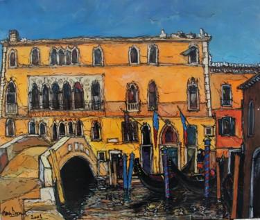 """Peinture intitulée """"Palais à Venise"""" par Francis Bocquet, Œuvre d'art originale, Huile"""